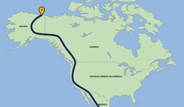 Mapa da viagem Brasil - Alaska